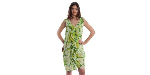 Dámske svetlo zelené šaty Cristian Lay s citrusmi
