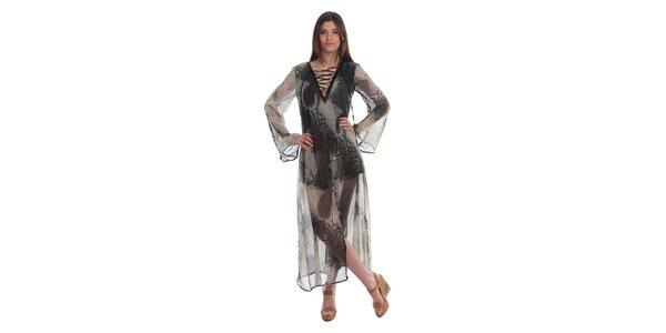 Dámske dlhé čierno-biele šaty Cristian Lay