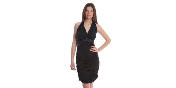 Dámske čierne koktejlové šaty Cristian Lay s kamienkami
