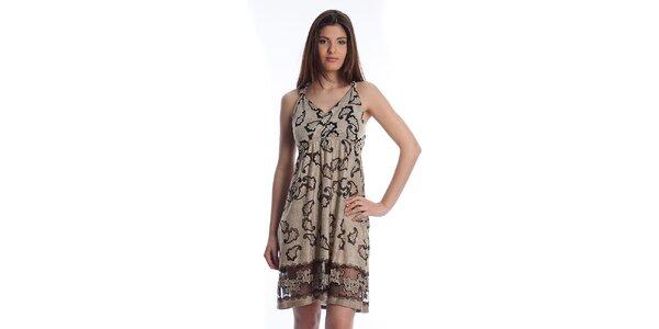 Dámske béžové šaty Cristian Lay s potlačou