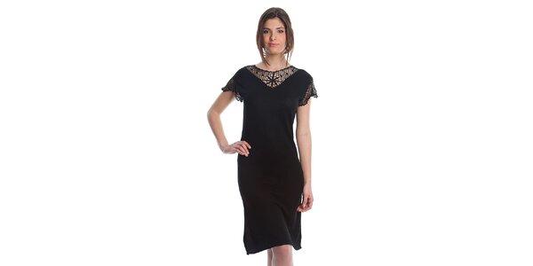 Dámske čierne šaty Cristian Lay s čipkou