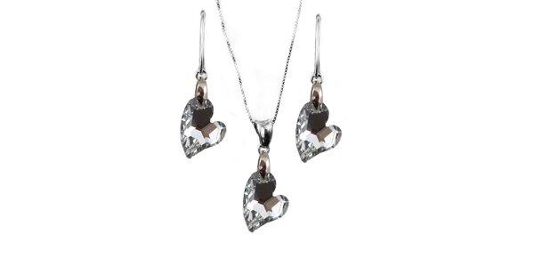 Set náušnice + prívesok + retiazka s kryštálmi Swarovski Element - srdce…