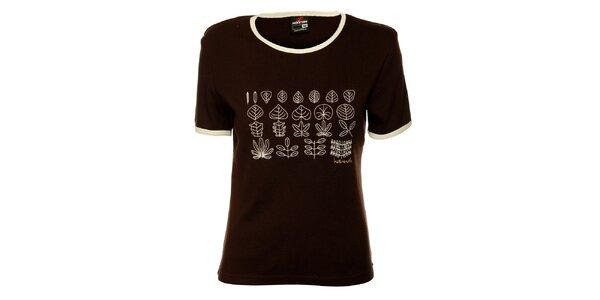 Dámske tmavo hnedé tričko Hannah s bielou potlačou