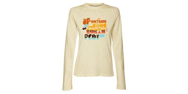 Dámske krémové tričko Hannah s farebnou potlačou