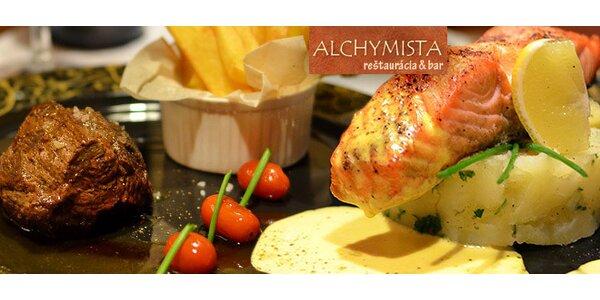 2-chodové menu - steak z lososa alebo sviečkovice, štrúdľa a víno