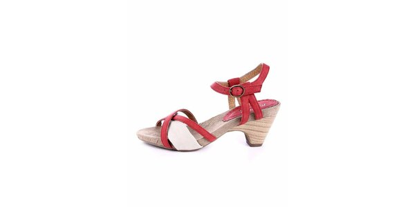 Dámske červeno-krémové sandálky Maria Mare