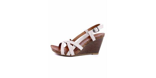 Dámske biele sandálky s korkovou platformou Maria Mare