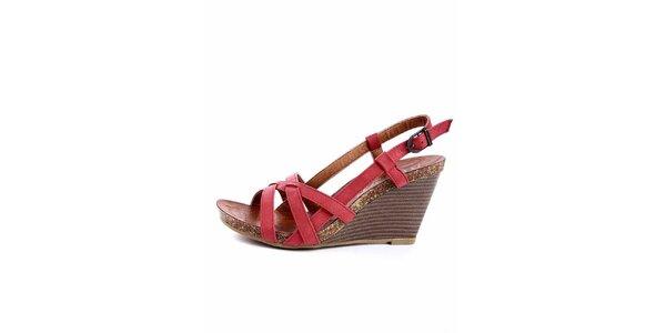 Dámske červené sandálky s korkovou platformou Maria Mare