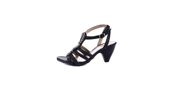 Dámske čierne sandálky na podpätku Maria Mare