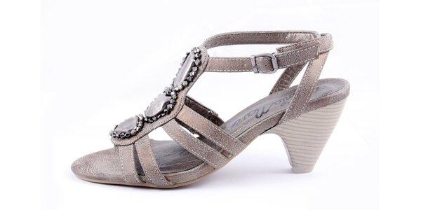 Dámske bronzové sandálky na podpätku Maria Mare