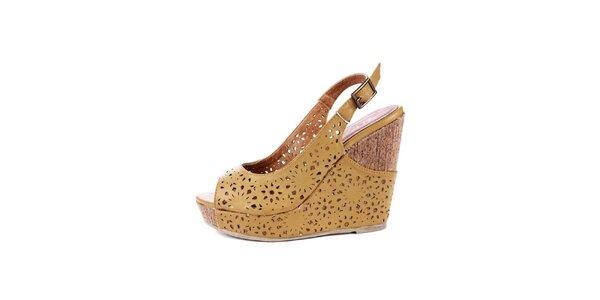 Dámske žlté sandálky na platforme Maria Mare