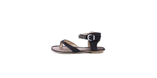 Dámske čierne žabkové sandálky s etno prvkami Maria Mare