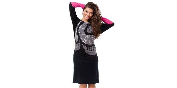 Dámske čierne šaty Avispada so zimným motívom