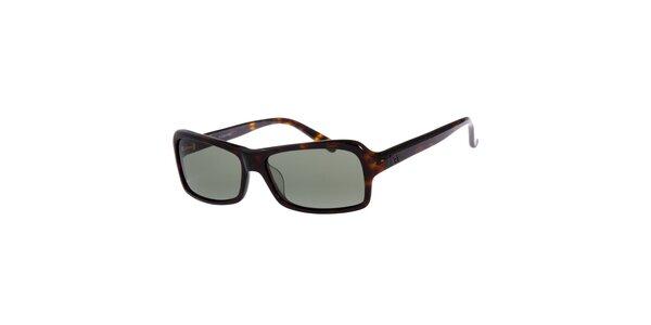 Dámske tmavo hnedé žíhané slnečné okuliare Calvin Klein