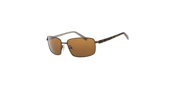 Pánske hnedé slnečné okuliare Calvin Klein s polarizovanými sklami