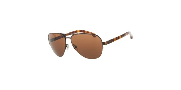 Pánske hnedo-jantarové žíhané slnečné okuliare Calvin Klein
