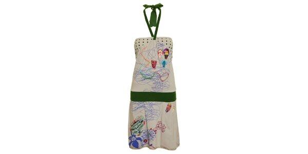 Dámske šedo-zelené šaty s nášivkami Dislay DY Design