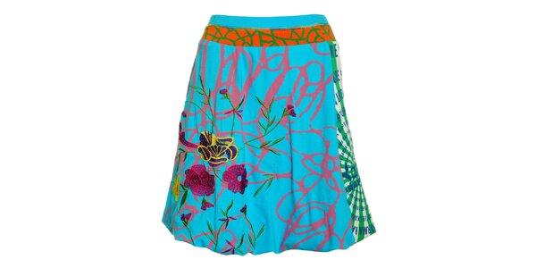 Dámska tyrkysová sukňa Dislay DY design s farebnou potlačou a výšivkou