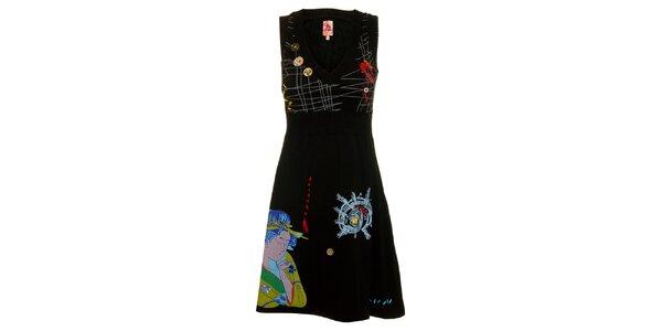Dámske čierne šaty Dislay DY Design s potlačou