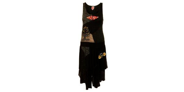 Dámske čierne šaty Dislay DY Design s potlačou a výšivkou