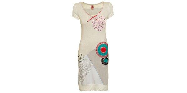 Dámske krémovo-biele šaty s tyrkysovými kolieskami Dislay DY Design