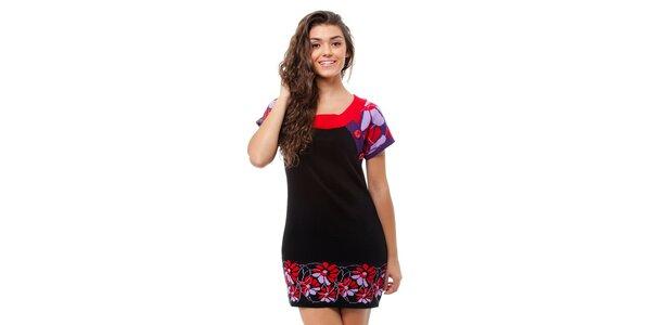 Dámske čierne pletené šaty Avispada s farebným vzorom