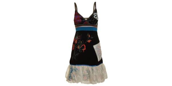 Dámske čierno-modré šaty s bielym lemom Dislay DY Design