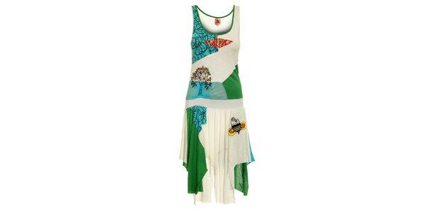 Dámske biele šaty Dislay DY Design s farebnou výšivkou