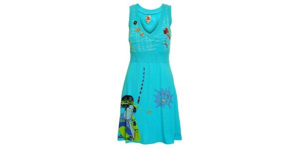 Dámske tyrkysové šaty Dislay DY Design s potlačou