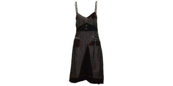 Dámske šedo-čierne šaty s výraznými stehmi Dislay DY Design