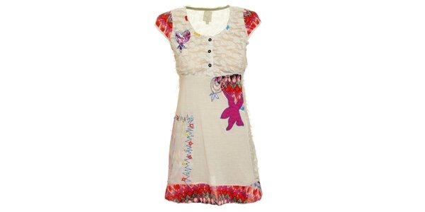 Dámske biele šaty s veselými nášivkami Dislay DY Design