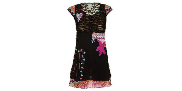 Dámske čierne šaty s veselými nášivkami Dislay DY Design