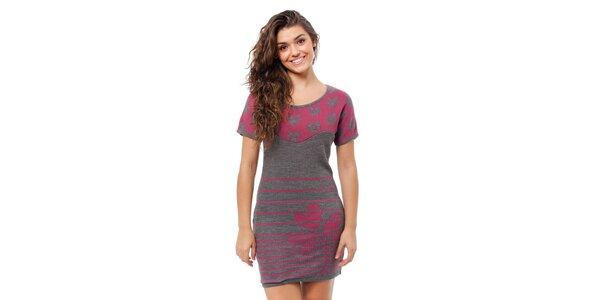 Dámske šedo-ružové úpletové šaty Avispada s trojlístkom