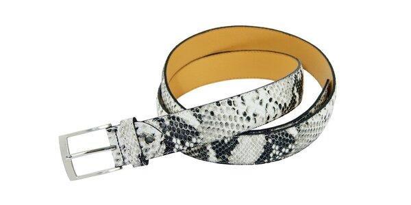 Dámsky čierno-biely kožený opasok Matt&Desy s hadím vzorom