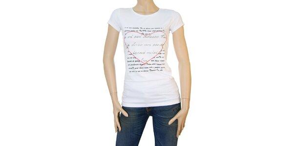 Dámske biele tričko Matt&Desy s milostným dopisom