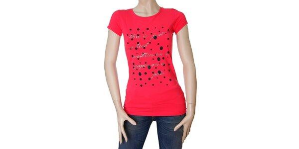 Dámske červené tričko Matt&Desy se stříbrným textom a bodkami