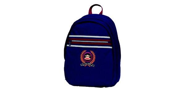 Modrý batoh s prúžkami a opičkou Paul Frank