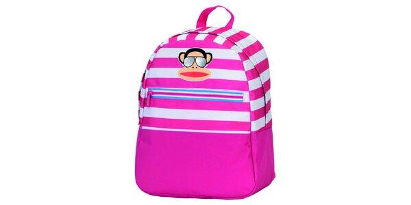 Ružovo-biely pruhovaný batoh s opičkou Paul Frank