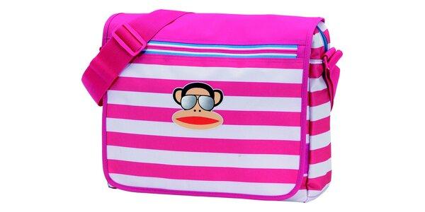 Ružovo-biela pruhovaná taška Paul Frank