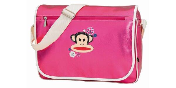 Kovovo ružová taška s opicou Paul Frank