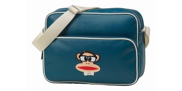 Oceľovo modrá taška na notebook s opičkou Paul Frank