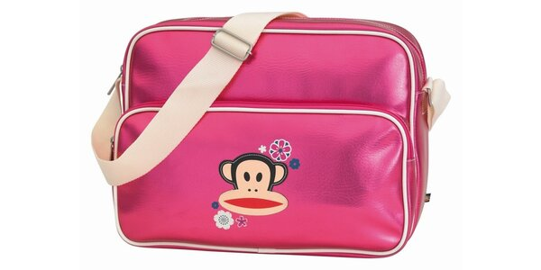 Ružová taška na notebook s opičkou Paul Frank