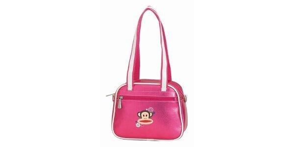 Ružová taška s bielymi lemami a opičkou Paul Frank
