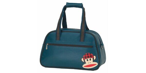 Modro-zelená taška s opičkou Paul Frank
