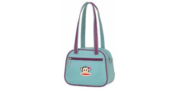 Dámska svetlo modrá taška Paul Frank s fialovým lemom