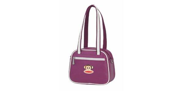Dámska fialová taška Paul Frank s bielym lemom