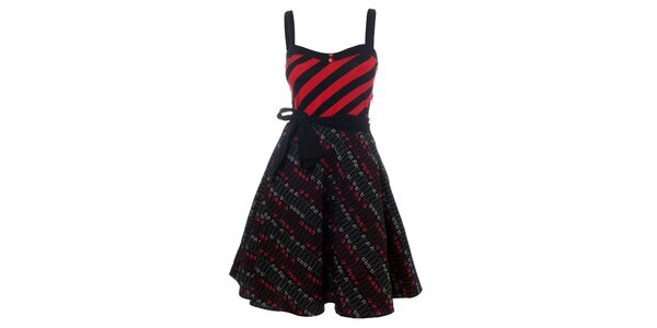 Dámske červeno-čierne punkové šaty so špendlíkmi Pussy Deluxe