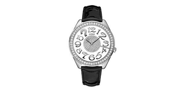 Dámske analogové hodinky s čiernym remienkom a Swarovski krištáľmi Guess