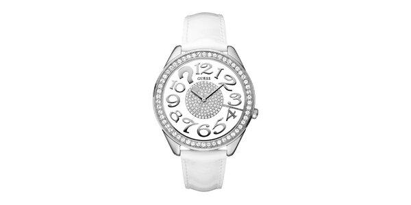 Dámske analogové hodinky s bielym remienkom a Swarovski krištáľmi Guess