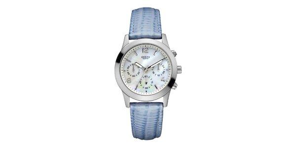 Dámske analogové hodinky s modrým remienkom Guess